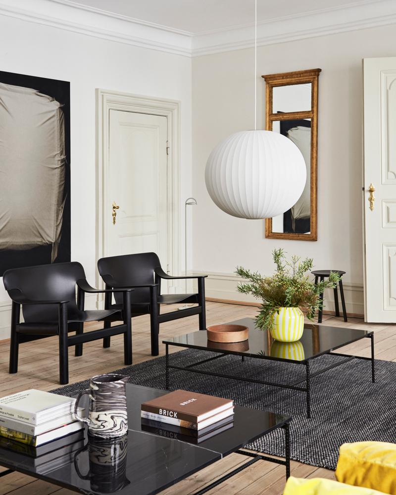 Nelson-Ball-Bubble-Pendant-L_Juice-Vase-yellow_Rebar-Coffee-Table_Bernard-deep-black-stained-oak-base-black-leather-cover
